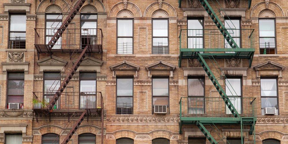 Stalen vluchttrappen in New York