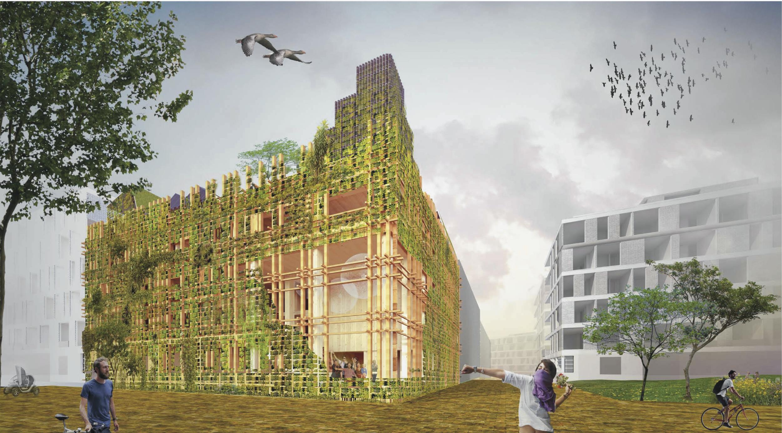 Impressie van De Warren met natuurinclusieve groene gevel (c) Natrufied Architecture