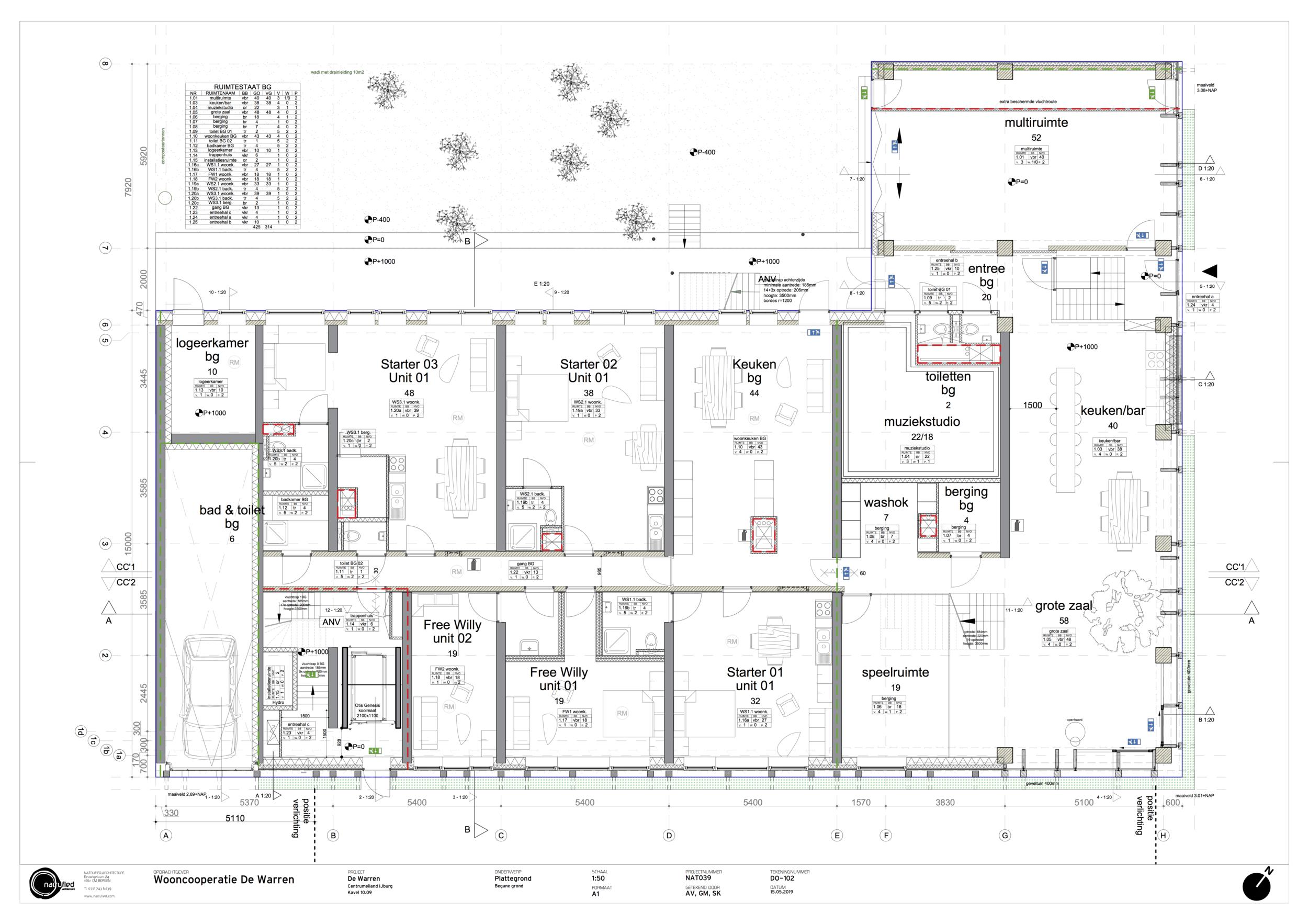 De begane grond van De Warren, met muziekstudio, yaga/theater ruimte, kinderspeelruimte en grote woonzaal (met boom!) (c) Natrufied Architecture