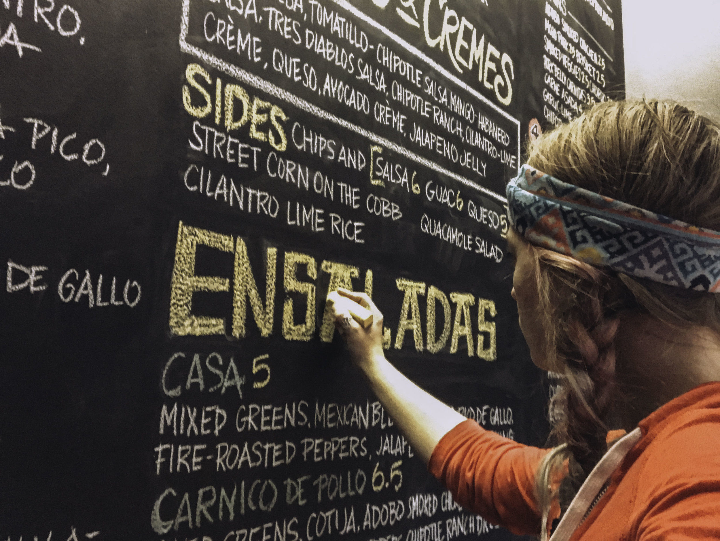 Vaya Con Dillas Chalk Wall Menu -