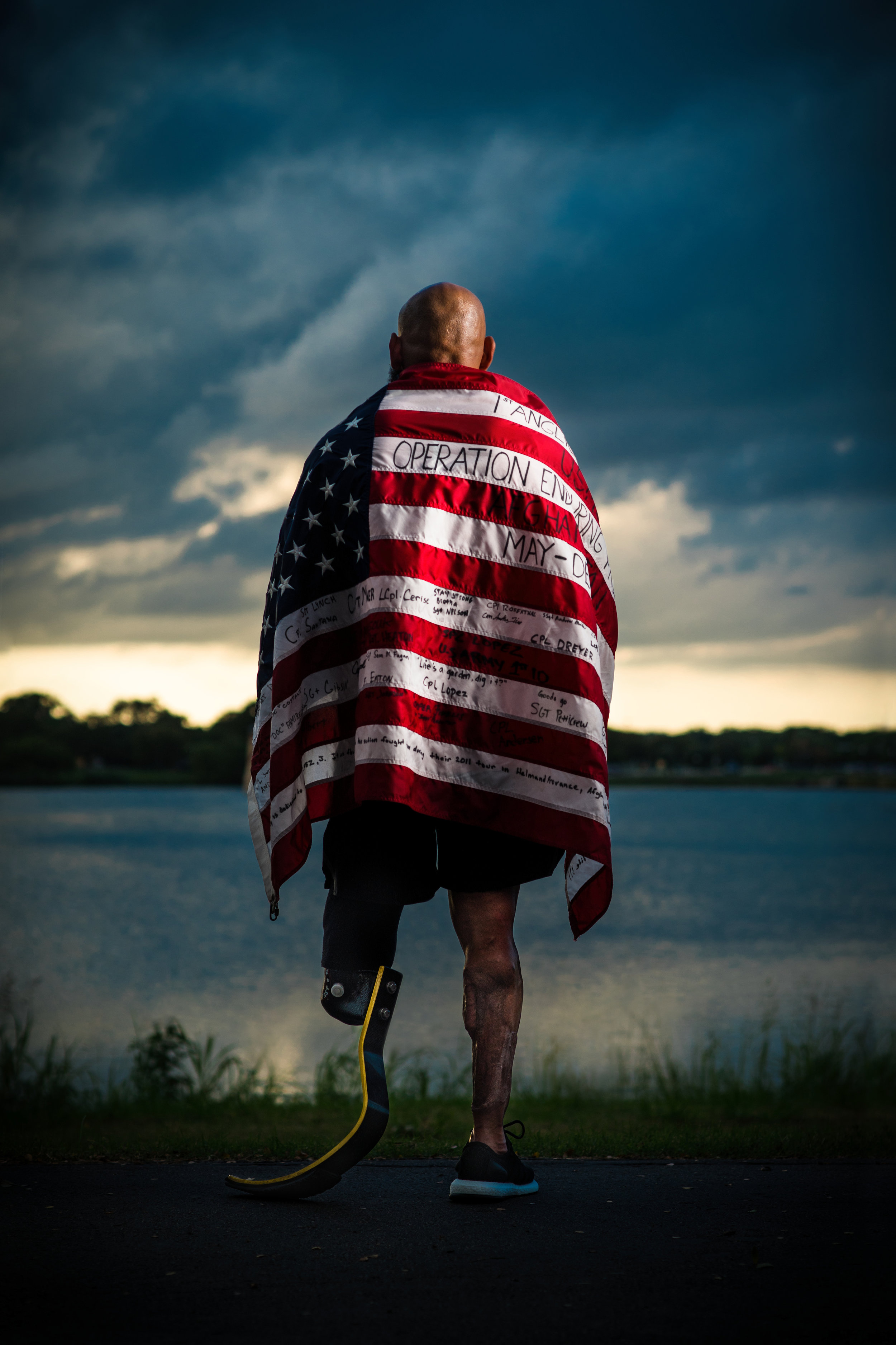 Jose Luis Sanchez,   who ran the Boston Marathon while carrying his unit's flag for all 26.2 miles after losing his leg in Iraq.  Sony A9, Leica M 90mm f2 Summicron