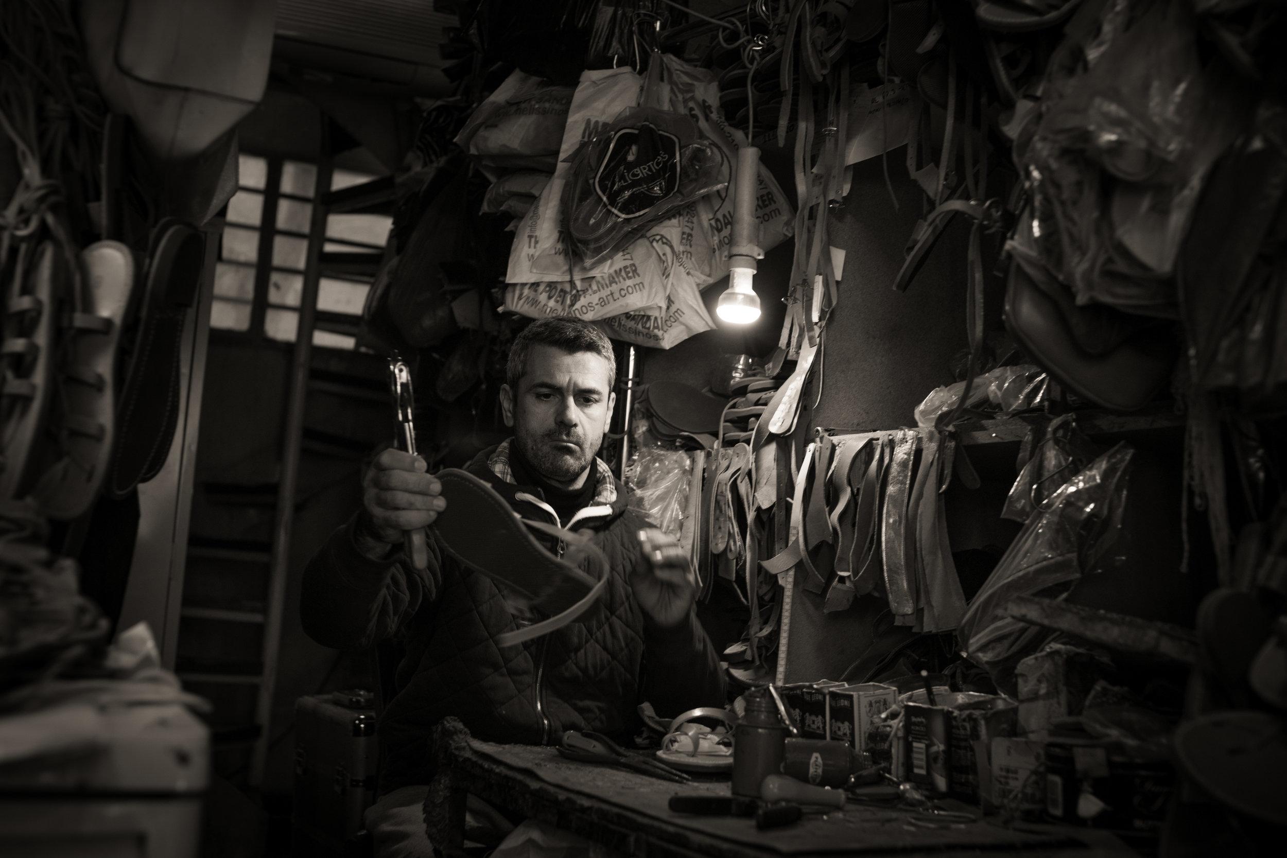 Sandal maker, Athens, Greece. Sony A9, Leica M 35mm f1.4 Summilux.