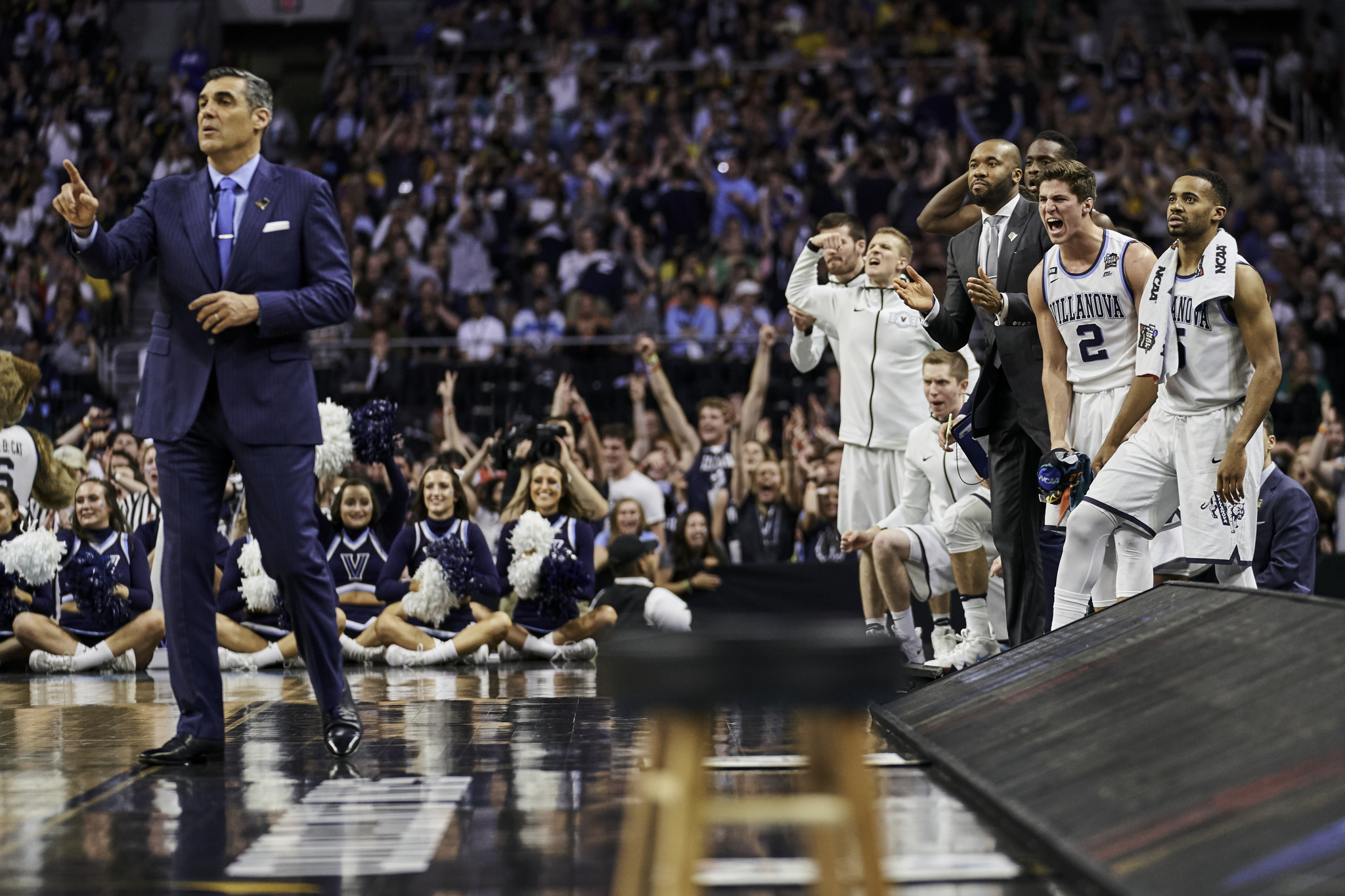 The Villanova bench celebrates in the second half.   Sony A9, Sony 70-200mm f2.8 GM