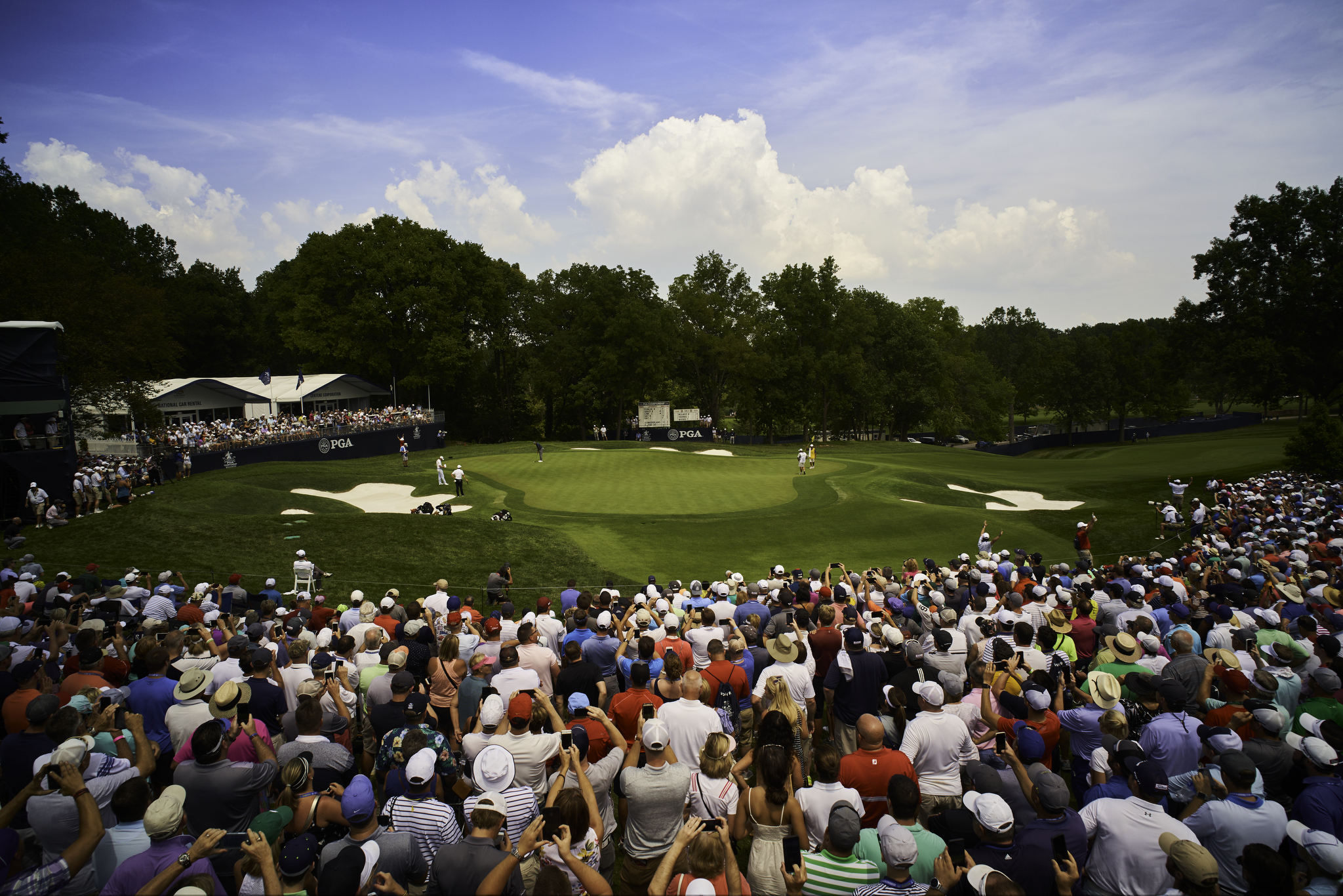 Ninth green at Bellerive Country Club during the 2018 PGA Championship.  Sony A7rIII, Leica 21mm f2.8 Elmarit   and a Metabones Leica M-Sony E mount adapter, on a 20-foot extension pole, composed, exposed and triggered using the camera's Smartphone Remote Control feature and Sony PlayMemories app.