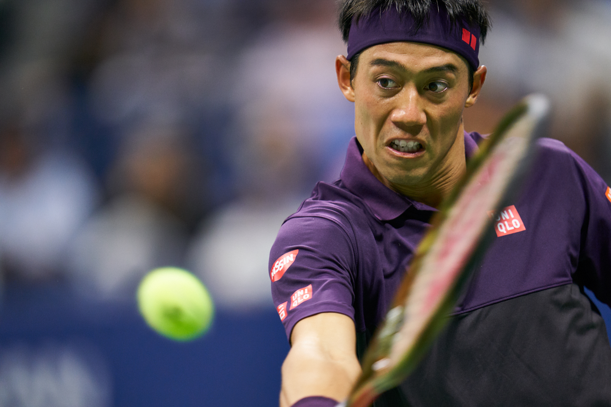 Kei Nishikori, Arthur Ashe Stadium, Men's Singles Semifinal  Sony A9, Sony 400mm f2.8 GM-OSS  (I should probably note that this is an uncropped image)