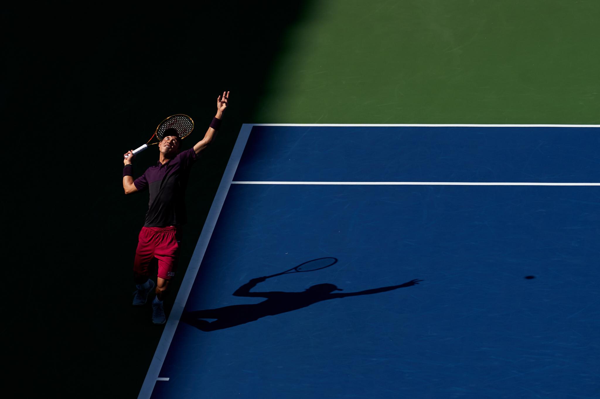 Kei Nishikori, Louis Armstrong Stadium, 4th round Men's Singles  Sony A9, Sony 100-400mm f4.5-5.6 GM-OSS