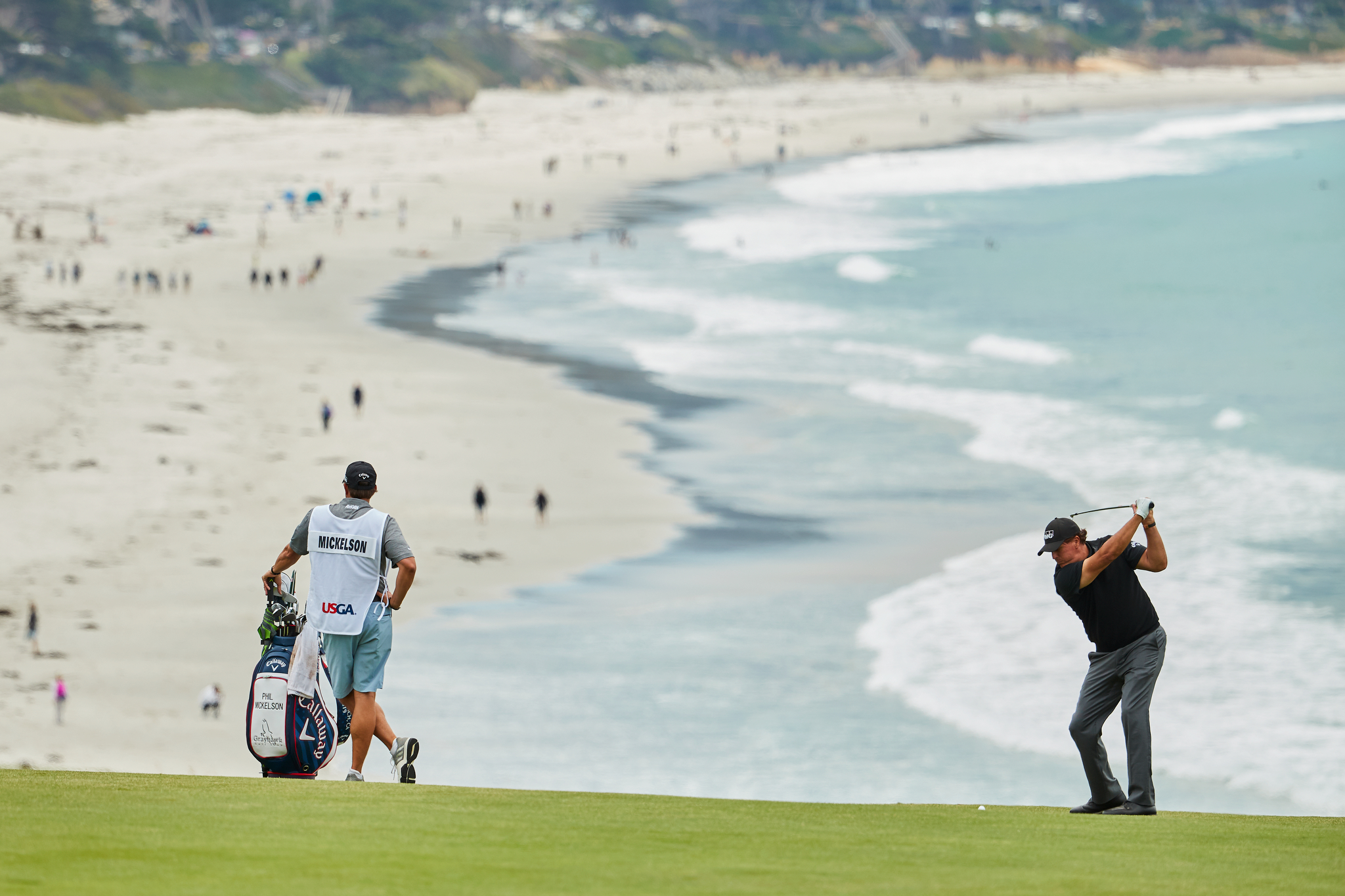 Phil Mickelson in the 9th fairway during Thursday's first round.  Canon 1DXM2, EF 200-400mm f4 L.
