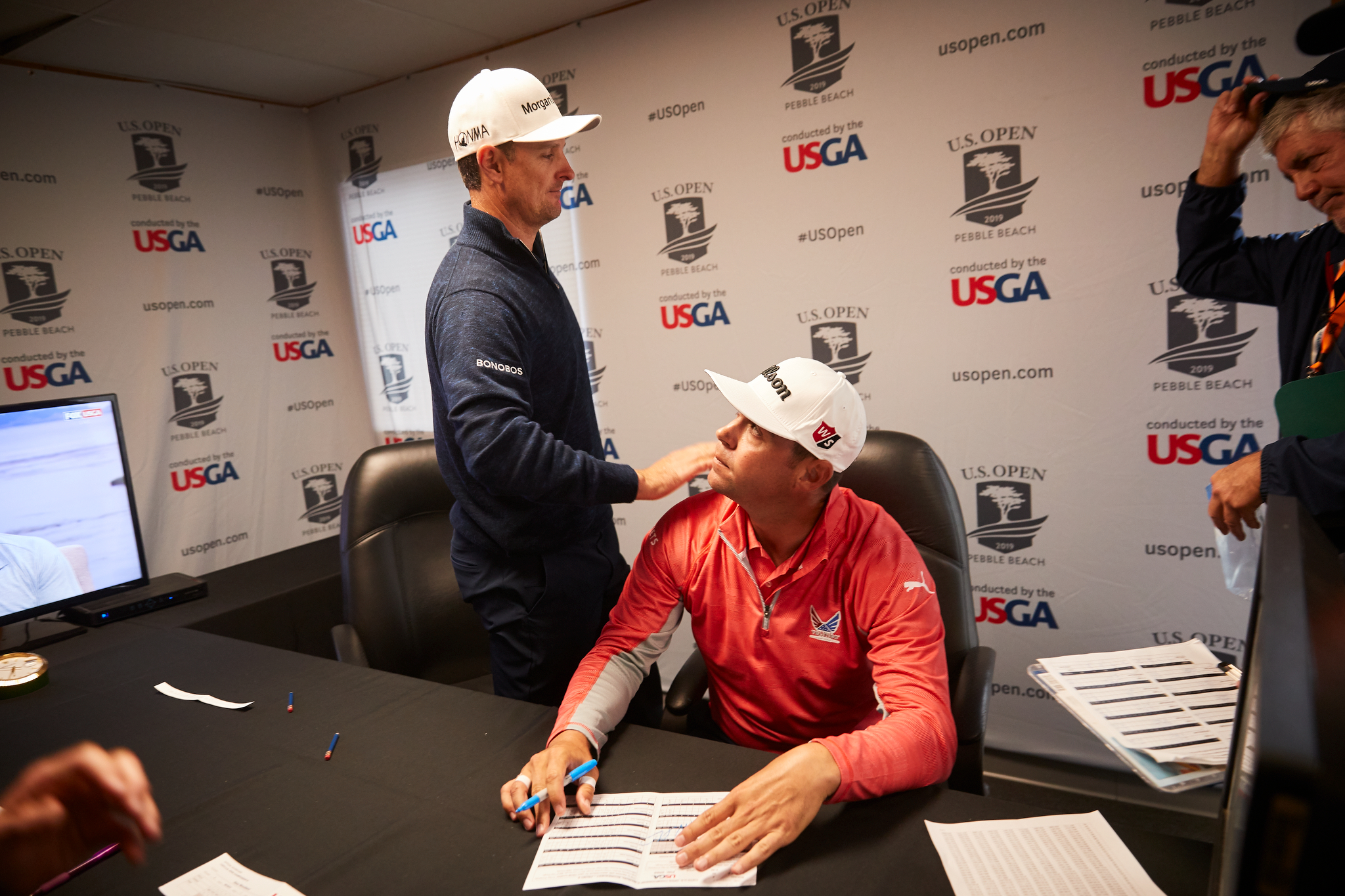 Justin Rose and Gary Woodland in the scoring area following the final round.  Canon 1DXM2, EF 24-70mm f2.8L.