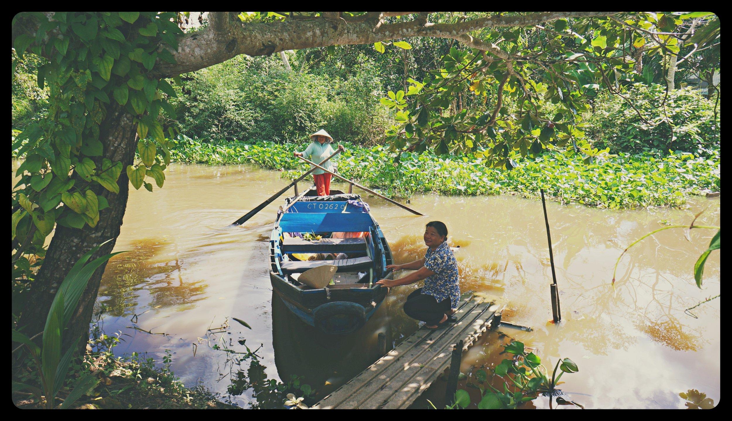 Mekong Delta trip with Mrs. Ha (on the footbridge)