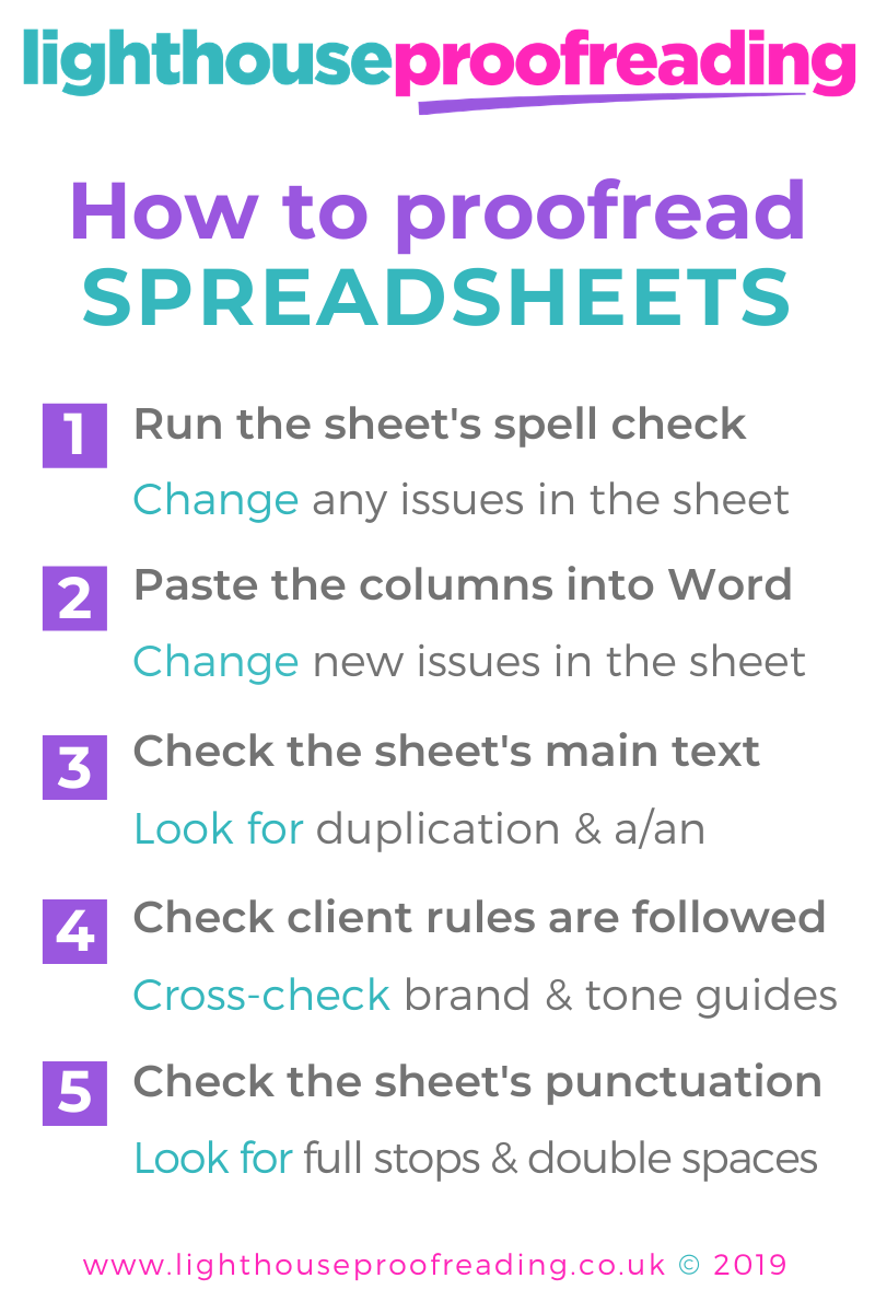How to proofread spreadsheets