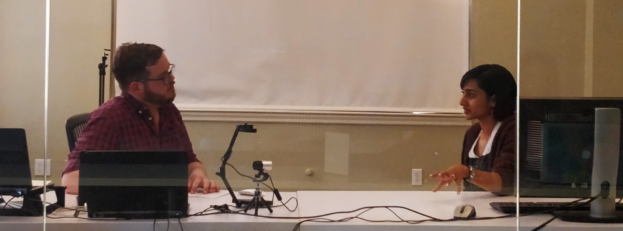Paul (left) interviewing one of users