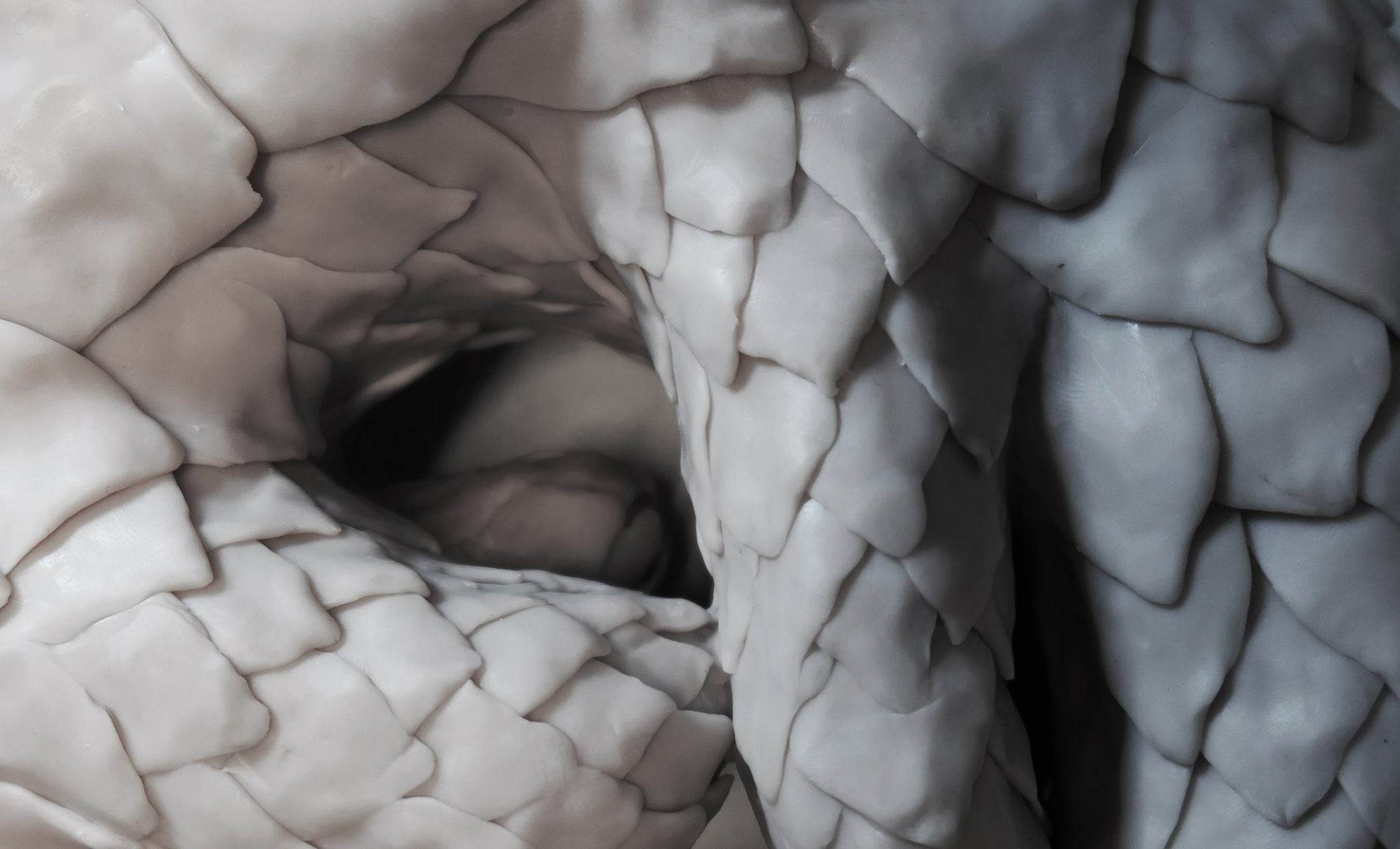 80 million years: Pangolin (detail), acrylic enamel on polymer clay, 29x26x10cm