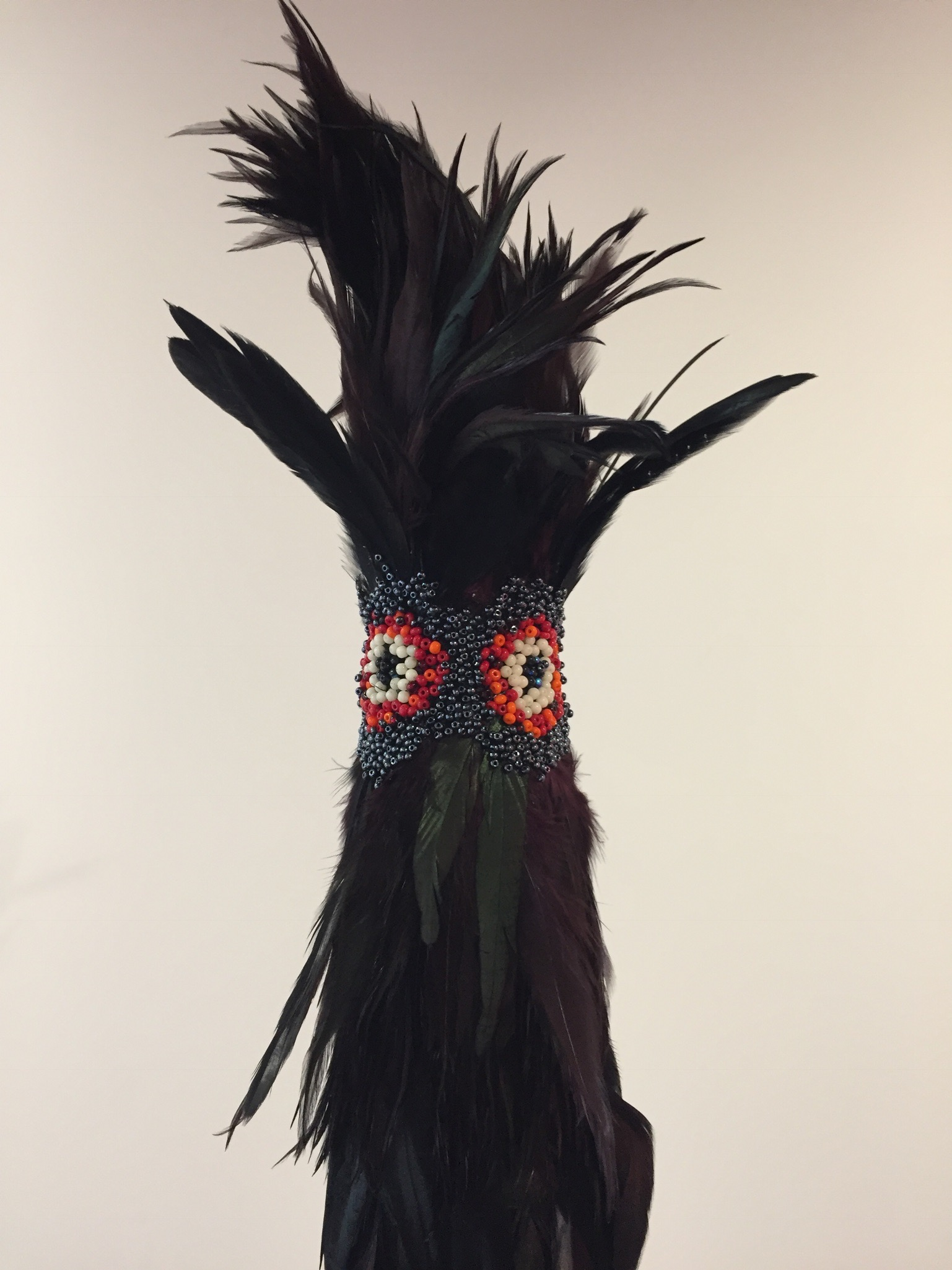 Gallus Gallus (detail), 2017, cock feathers and glass beads, variable dimensions