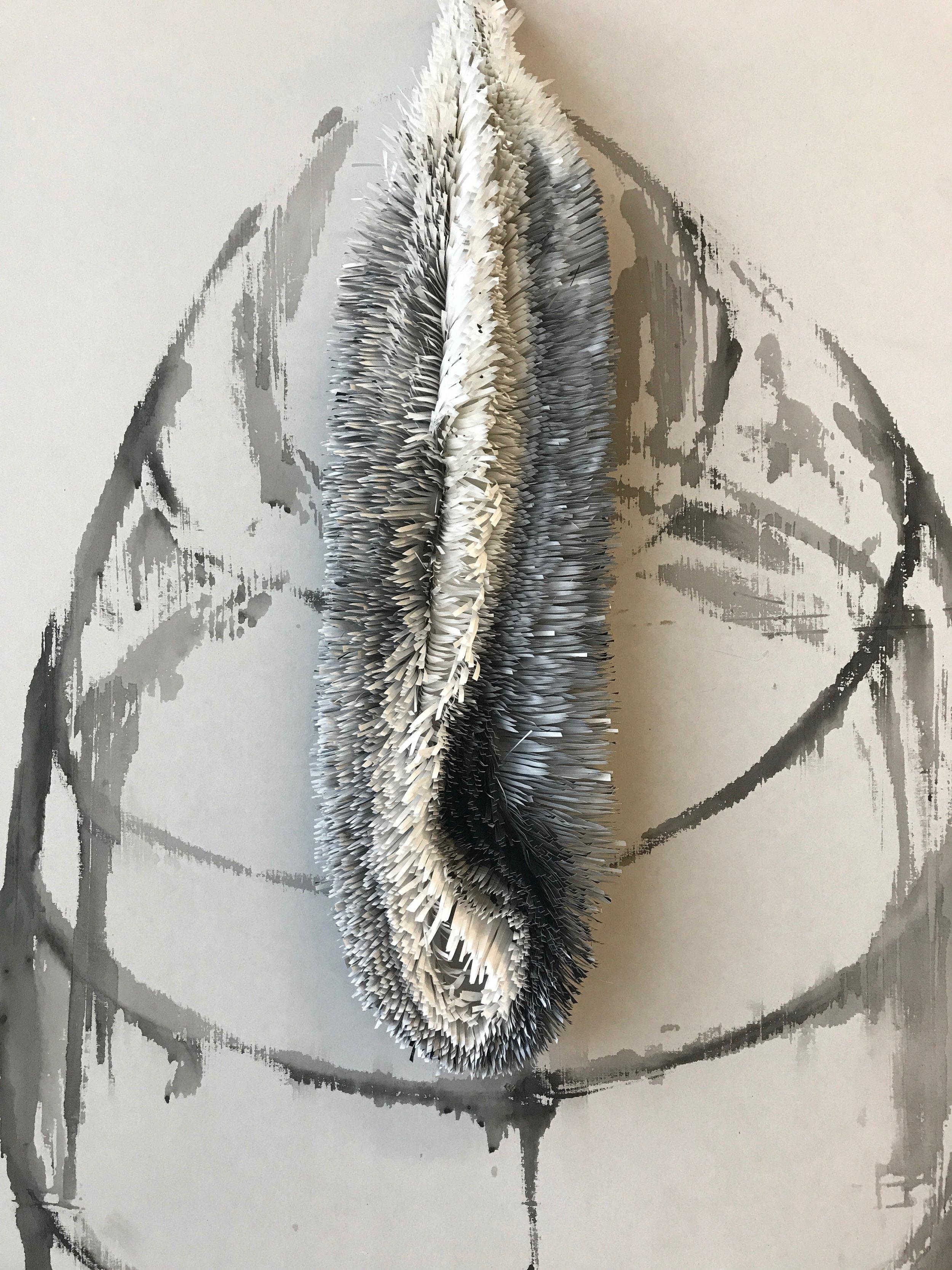 Scherenschnitte I, 2018, ink on paper (on plasterboard)