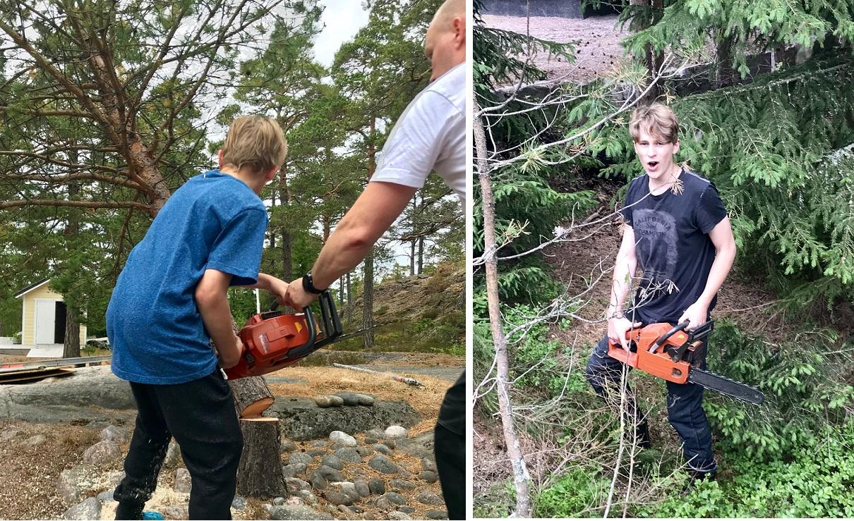 Efter att jag uppmärksammat de härliga männen i familjen på att lite träd behövde fällas var de inte sena med att dra fram motorsågen...