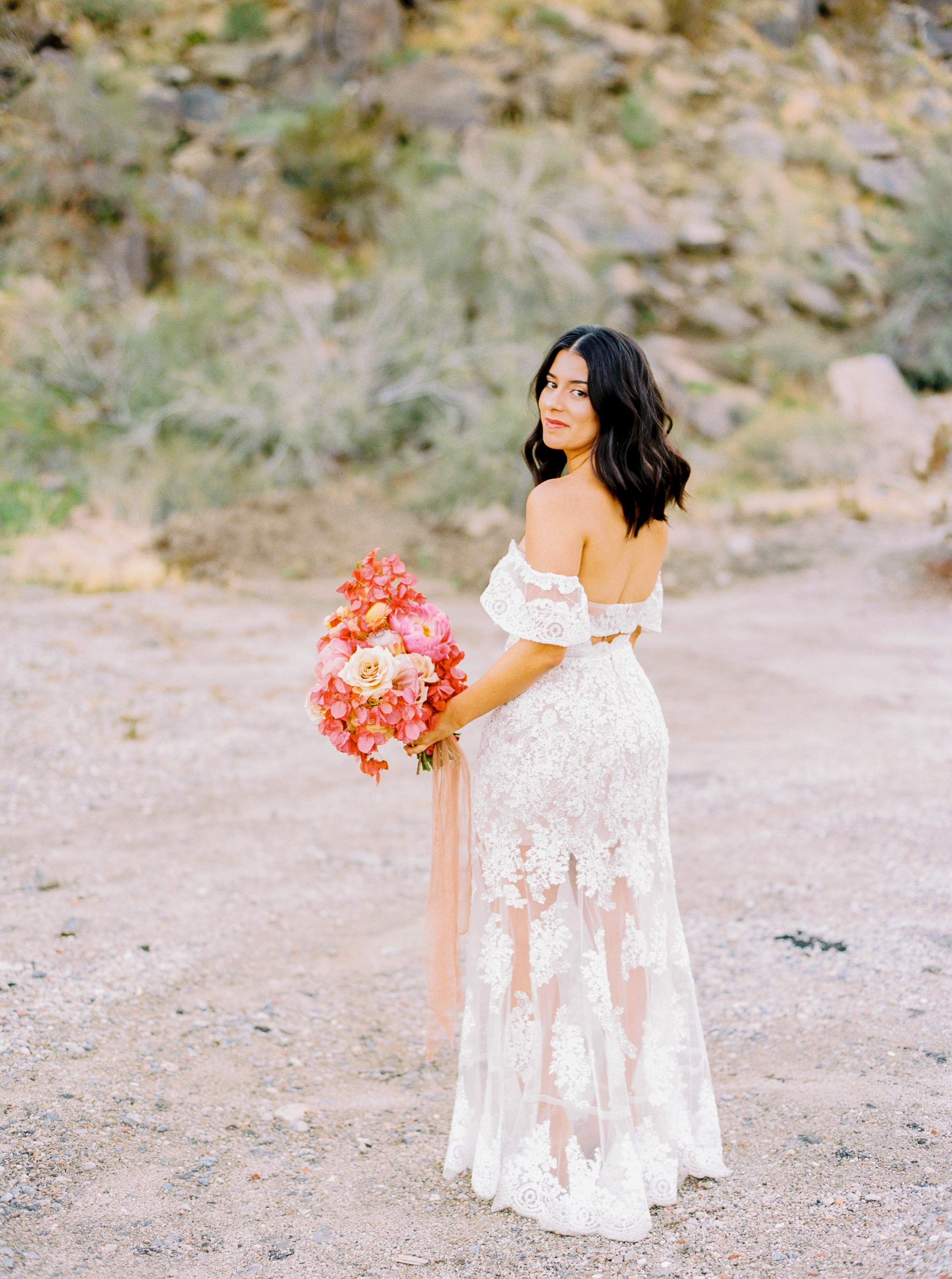 LACE WEDDING DRESS BOUGAINVILLEA BOUQUET