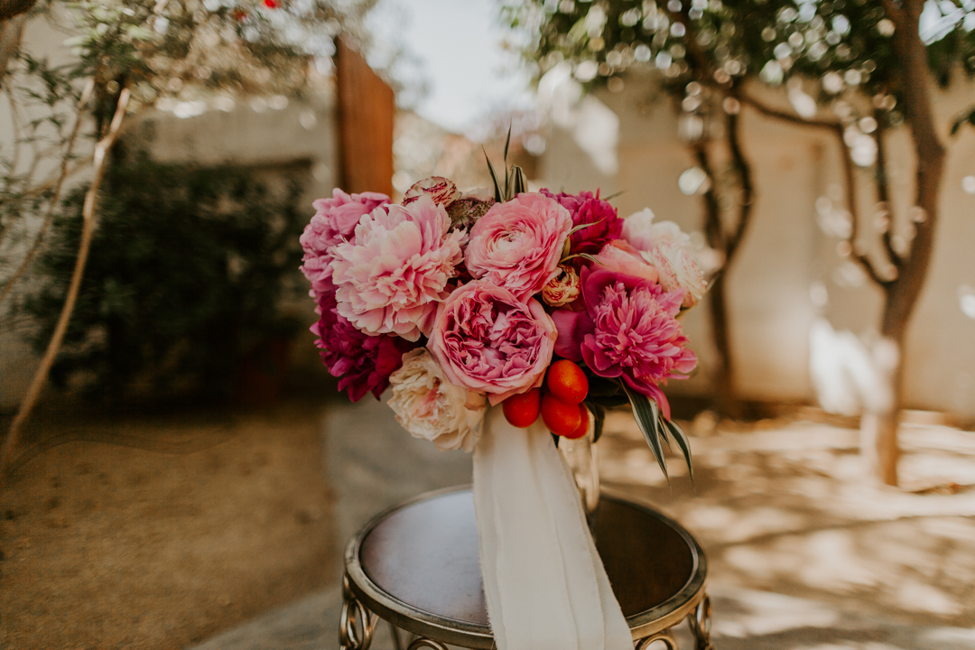 peonies wedding bouquet palm springs