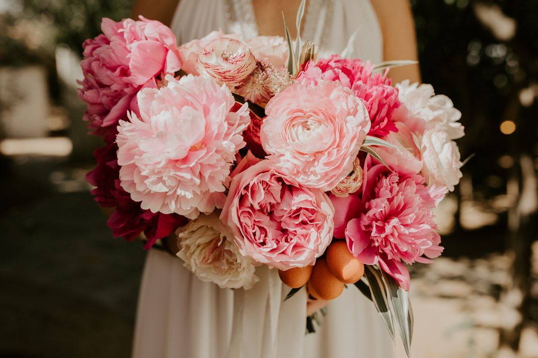 peonies wedding bouquet palm springs wedding