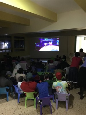 Watching Sing at Shoe4Africa, the children's hospital-over 60 attendees!