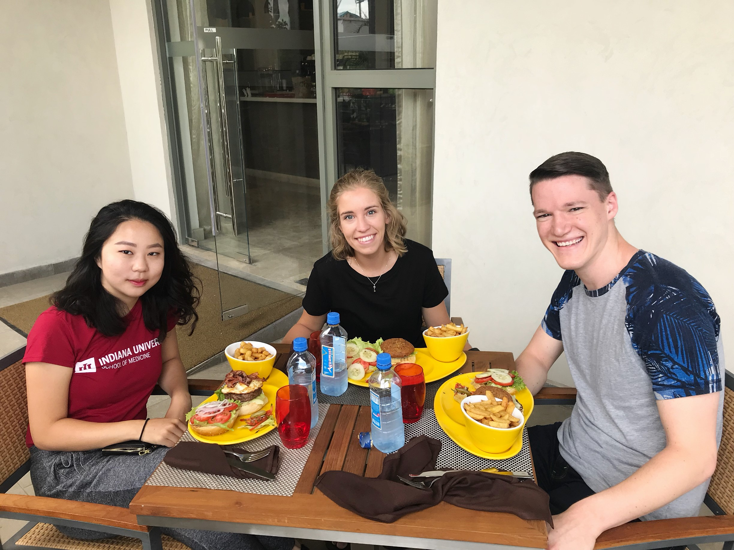 The three Slemenda Scholars at our first meal in Kenya.