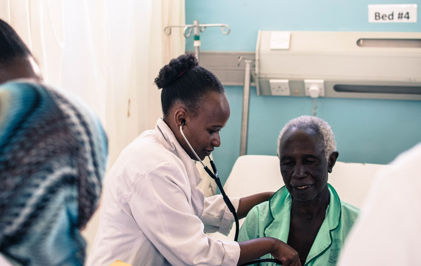 A patient being treated in the Cardiac Care Unit of Moi Teaching & Referral Hospital