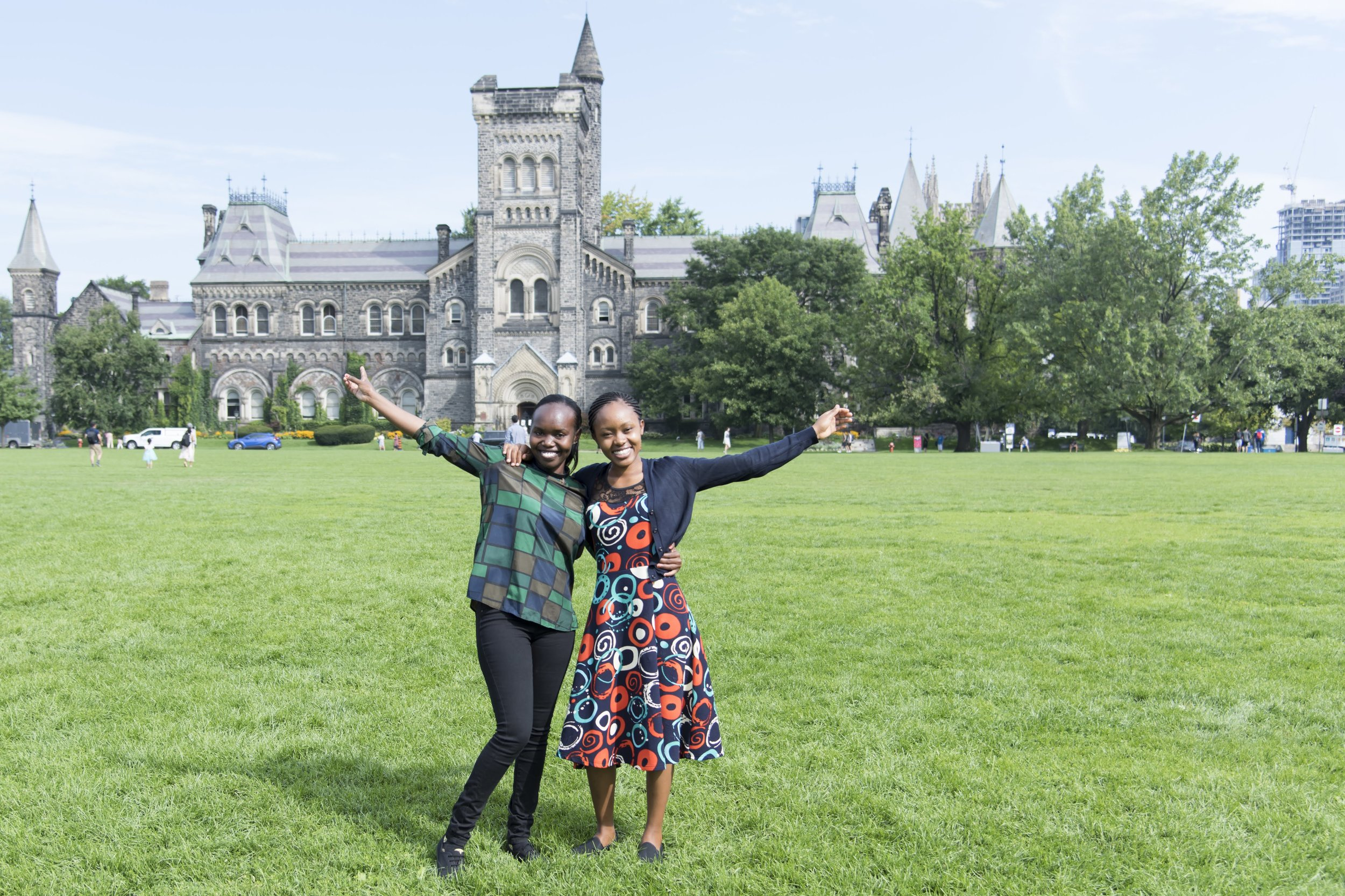 Winnie Rotich (left), observing Kenyan medical student with the Department of Obstetrics and Gynecology at the University of Toronto and her colleague Tabitha Maisiba.