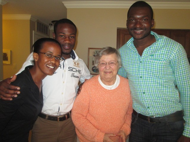 Mrs. Thurston enjoyed meeting the visiting Kenyan medical students.