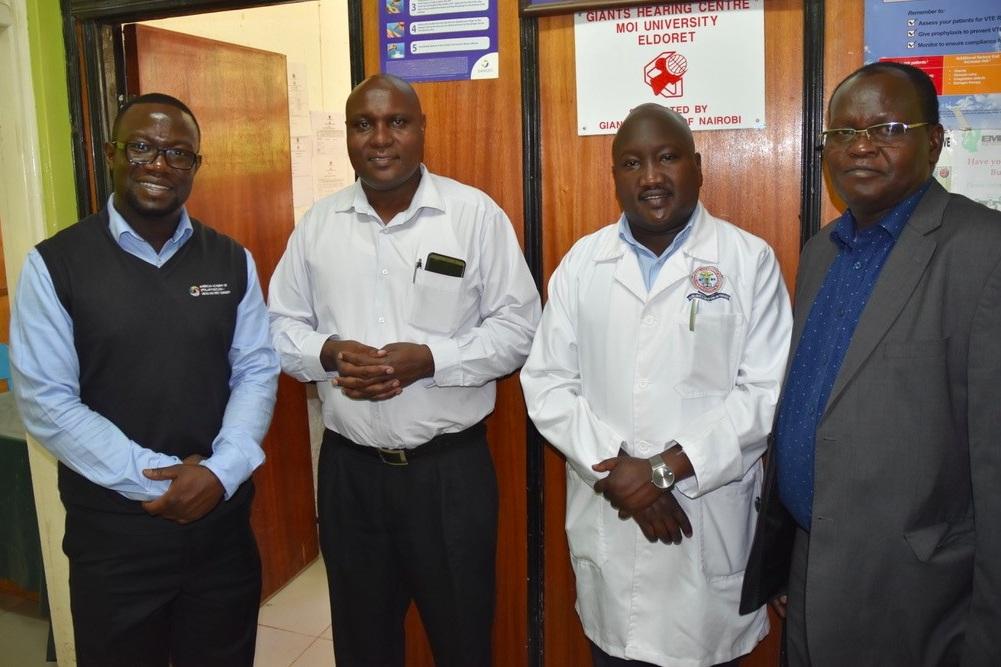 MTRH Otolaryngologists (L to R): Drs. Henry Ngoitsi, Makaya Denge, Owen Menach, and Titus Sisenda