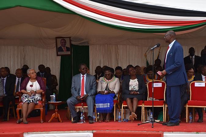 Professor Sylvester Kimaiyo, Chief of Party for AMPATH Plus, addresses the First Lady and assembled guests.