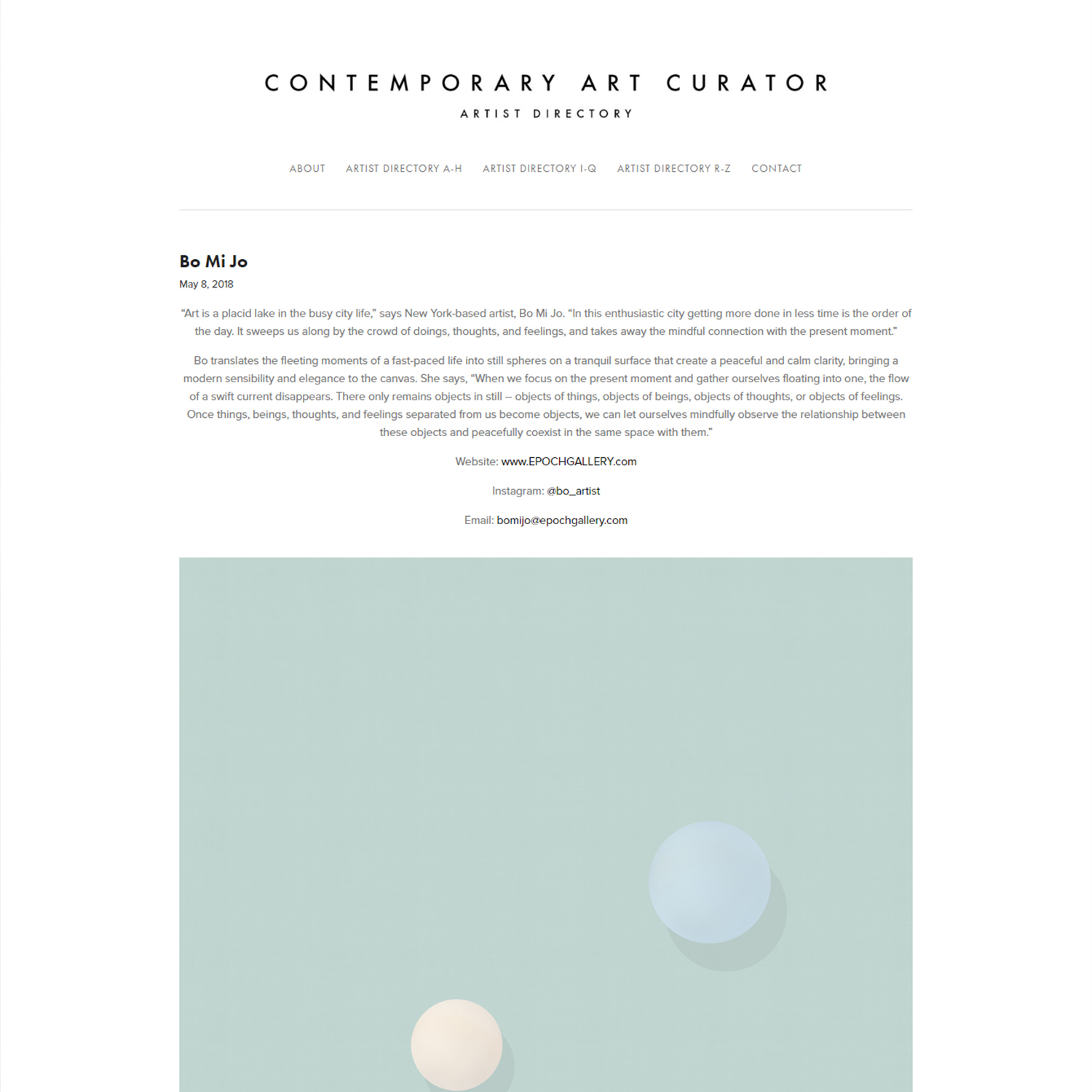 Contemporary Art Curator   May 8, 2018