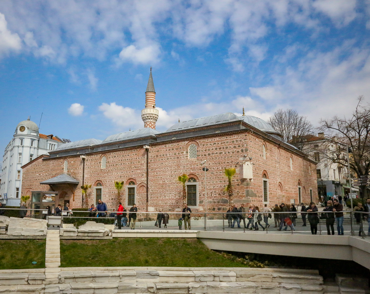 Plovdiv, Bulgaria mosque looks over an ancient Roman theater
