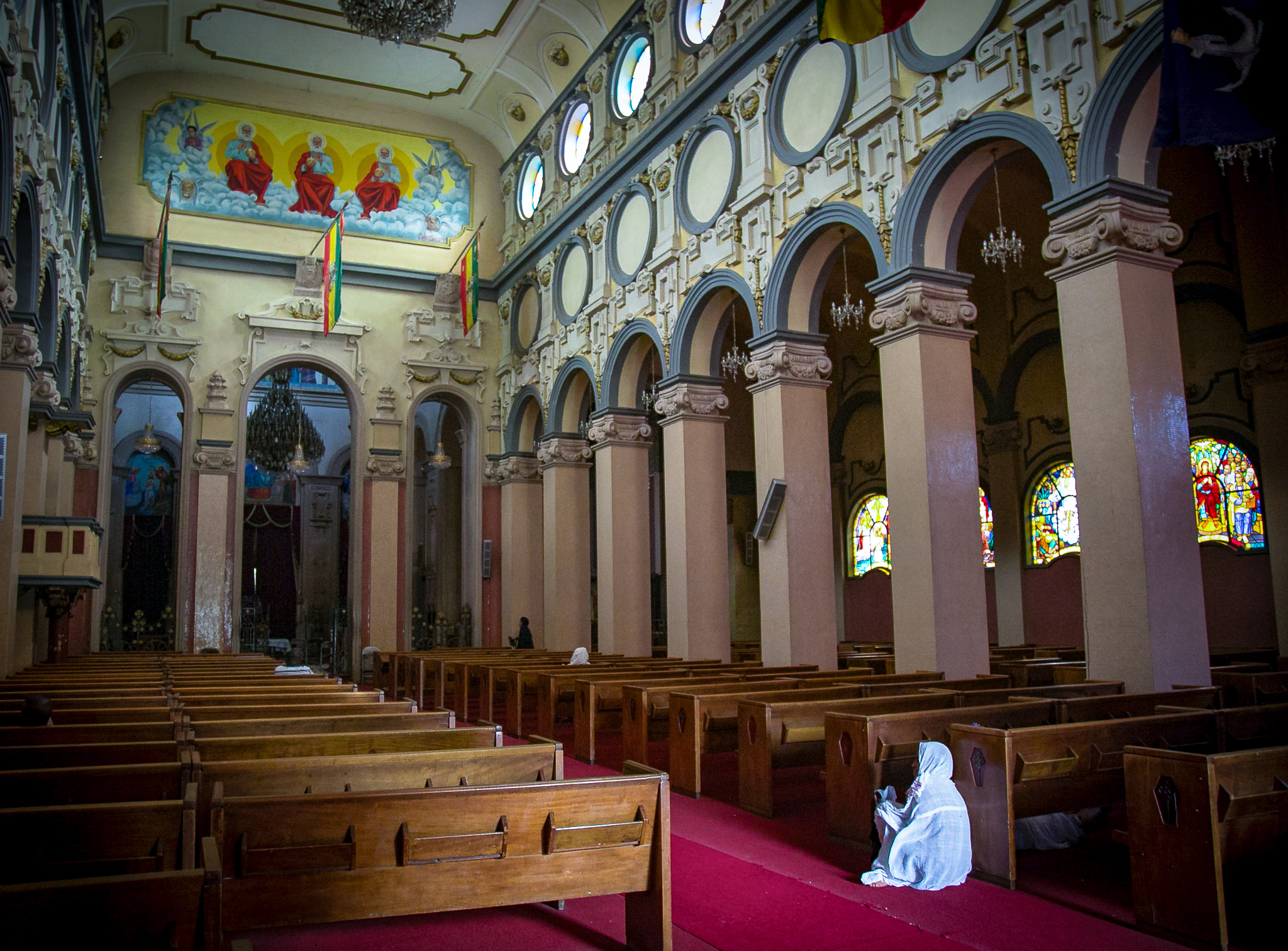 Inside an Ethiopian Orthodox church in Ethiopia's capital city of Addis Ababa © Kim I. Mott, all rights reserved