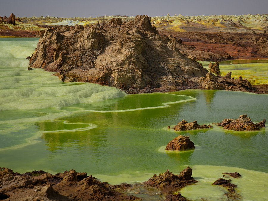 Dalol Mineral pools in northern Ethiopia, within the Danakil Depression.