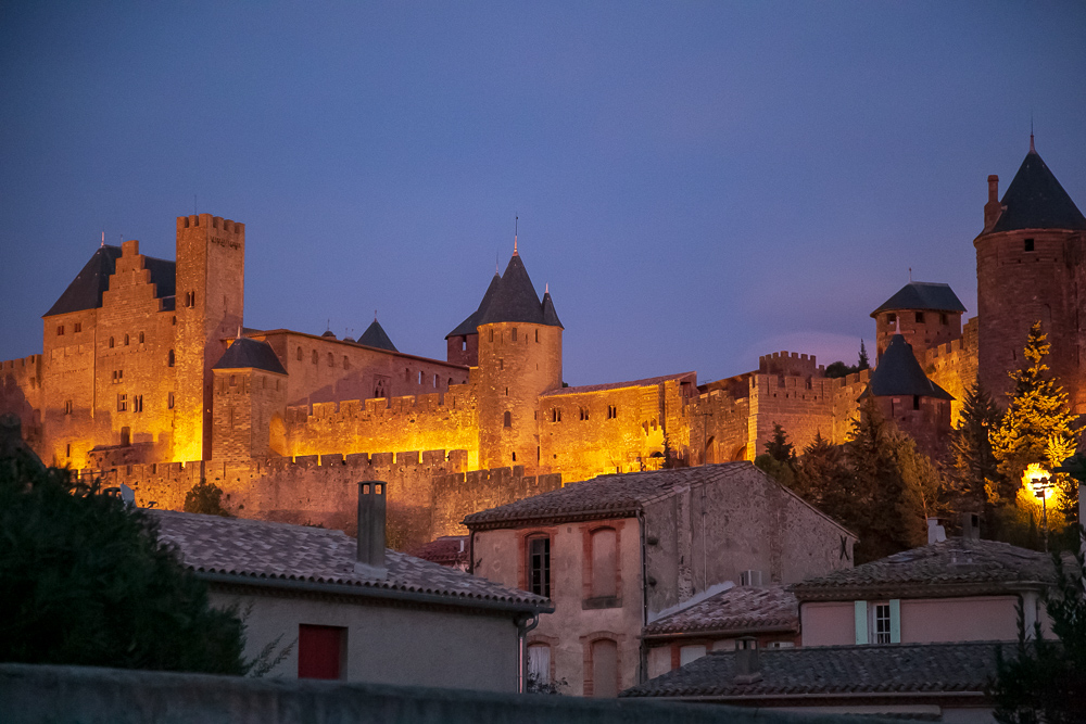 A view of the enormous medieval citadel that towers above Carcassonne, France. © Kim I. Mott, all rights reserved