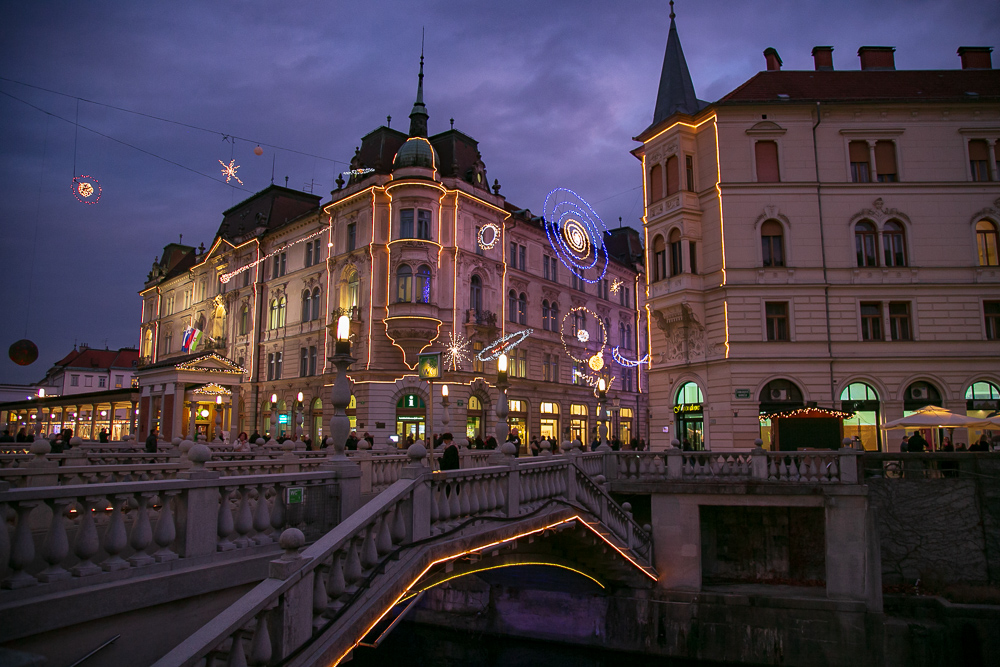 Christmas lights designed by local artists in Ljubljana, Slovenia. © Kim I. Mott, all rights reserved