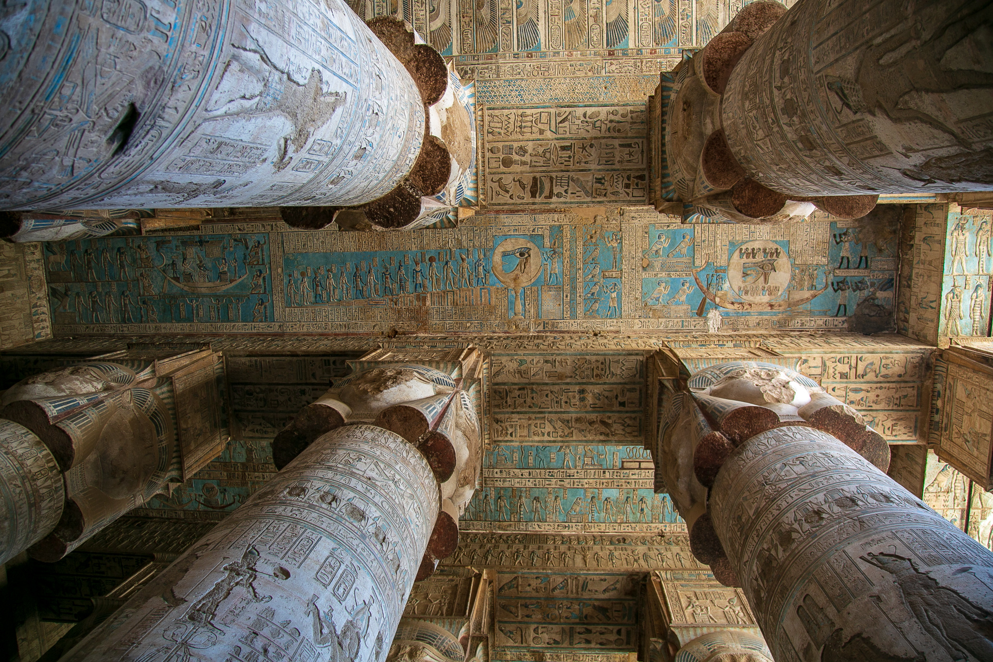 Greek Zodiac hiegroglyps carved into the ceiling of the Temple of Hathor in Dendera, Egypt © Kim I. Mott, all rights reserved