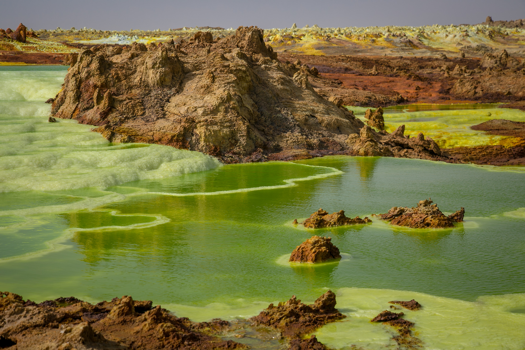 Northern Ethiopia's Danakil Depression is filled with brightly-colored mineral pools © Kim I. Mott, all rights reserved