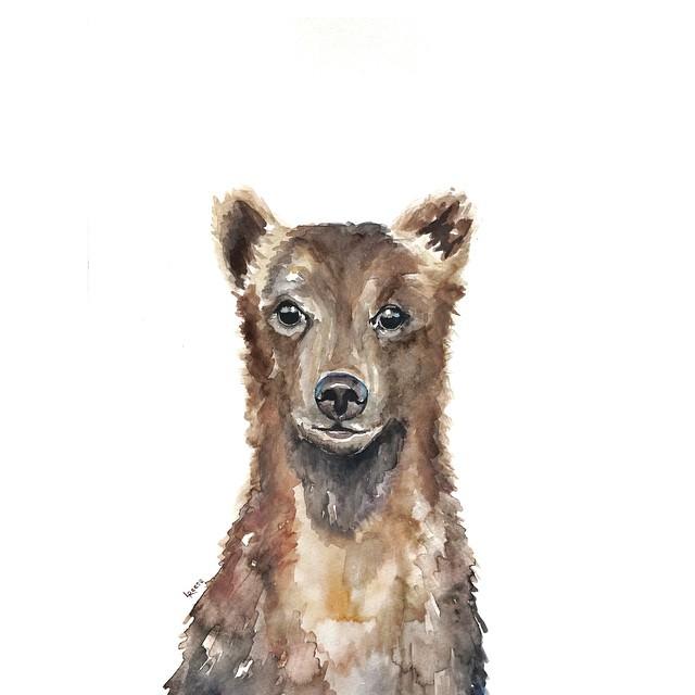 Brown bear watercolor | ampersandmother.com
