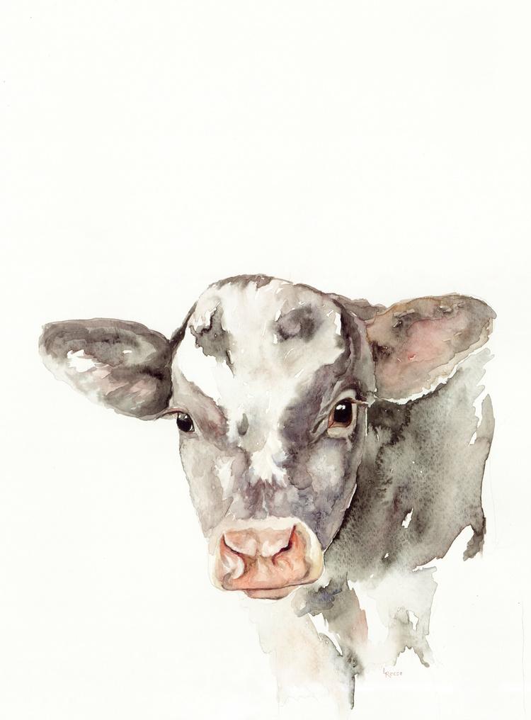 Calf watercolor | ampersandmother.com