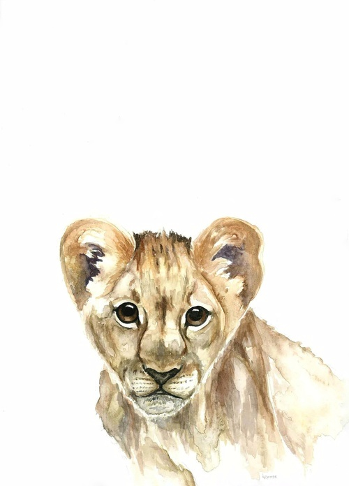Lion cub watercolor | ampersandmother.com