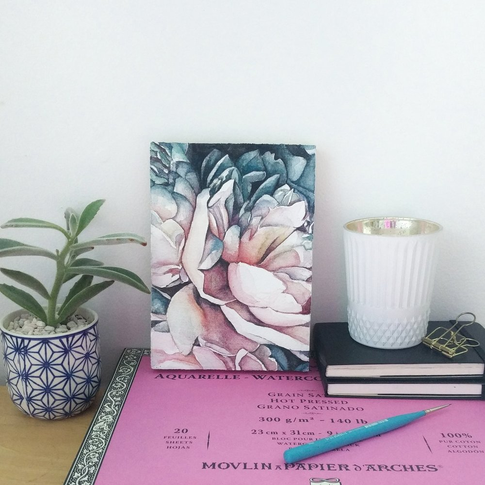 Watercolor peony | ampersandmother.com