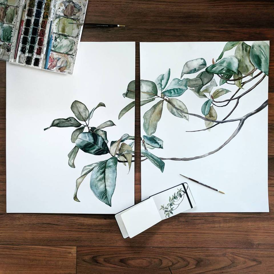Magnolia branch set watercolor | ampersandmother.com