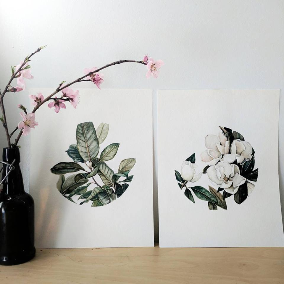 watercolor magnolia tree set | ampersandmother.com