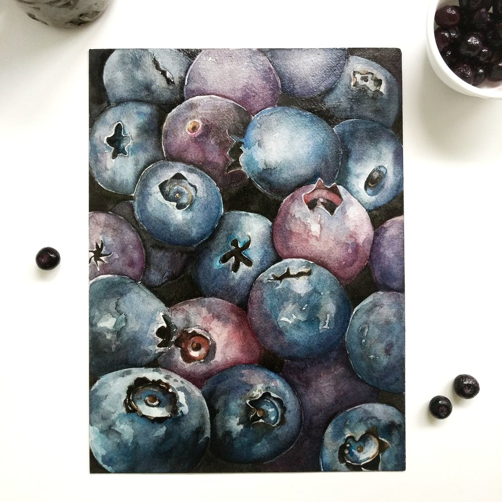 Blueberries watercolor | ampersandmother.com
