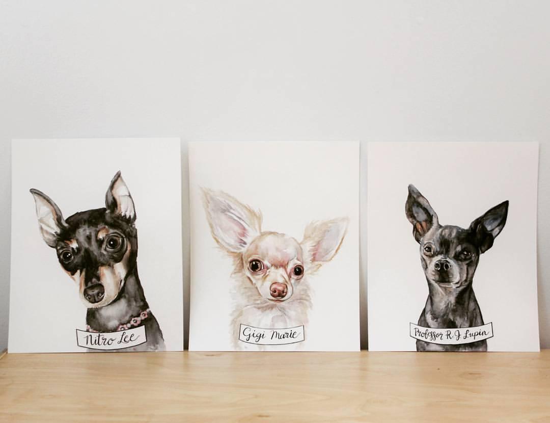 three chihuahuas watercolor | ampersandmother.com