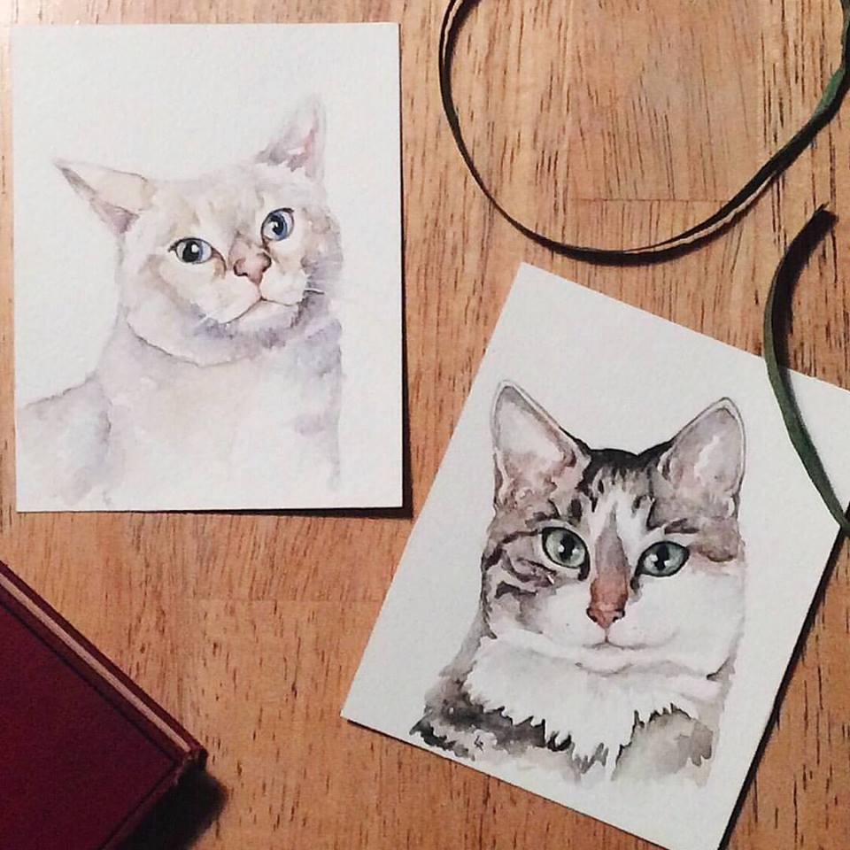 Cat watercolor | ampersandmother.com