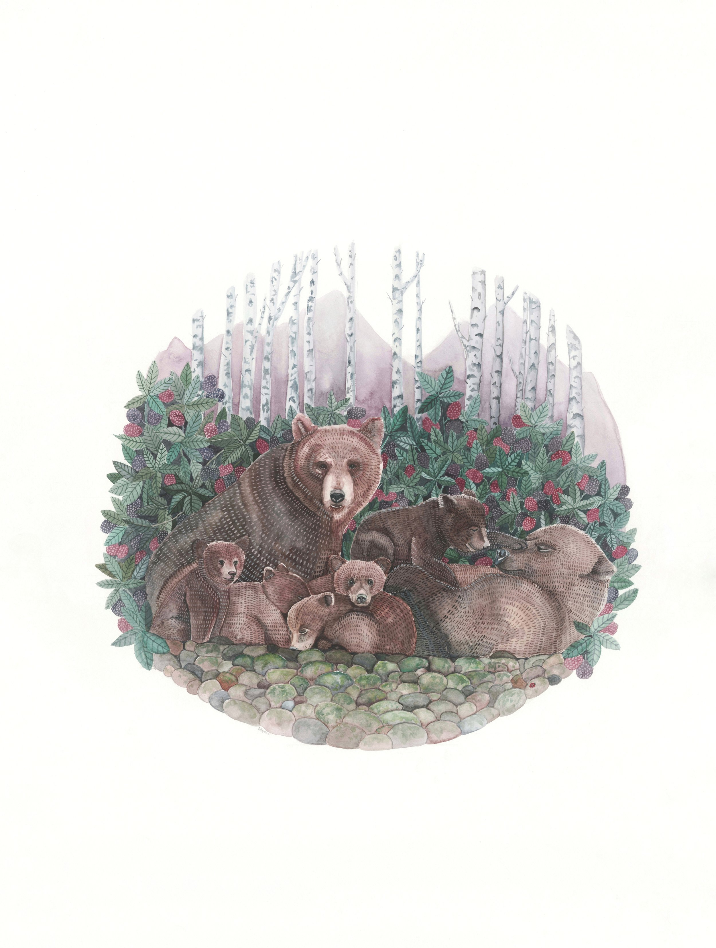 Bear family watercolor | ampersandmother.com