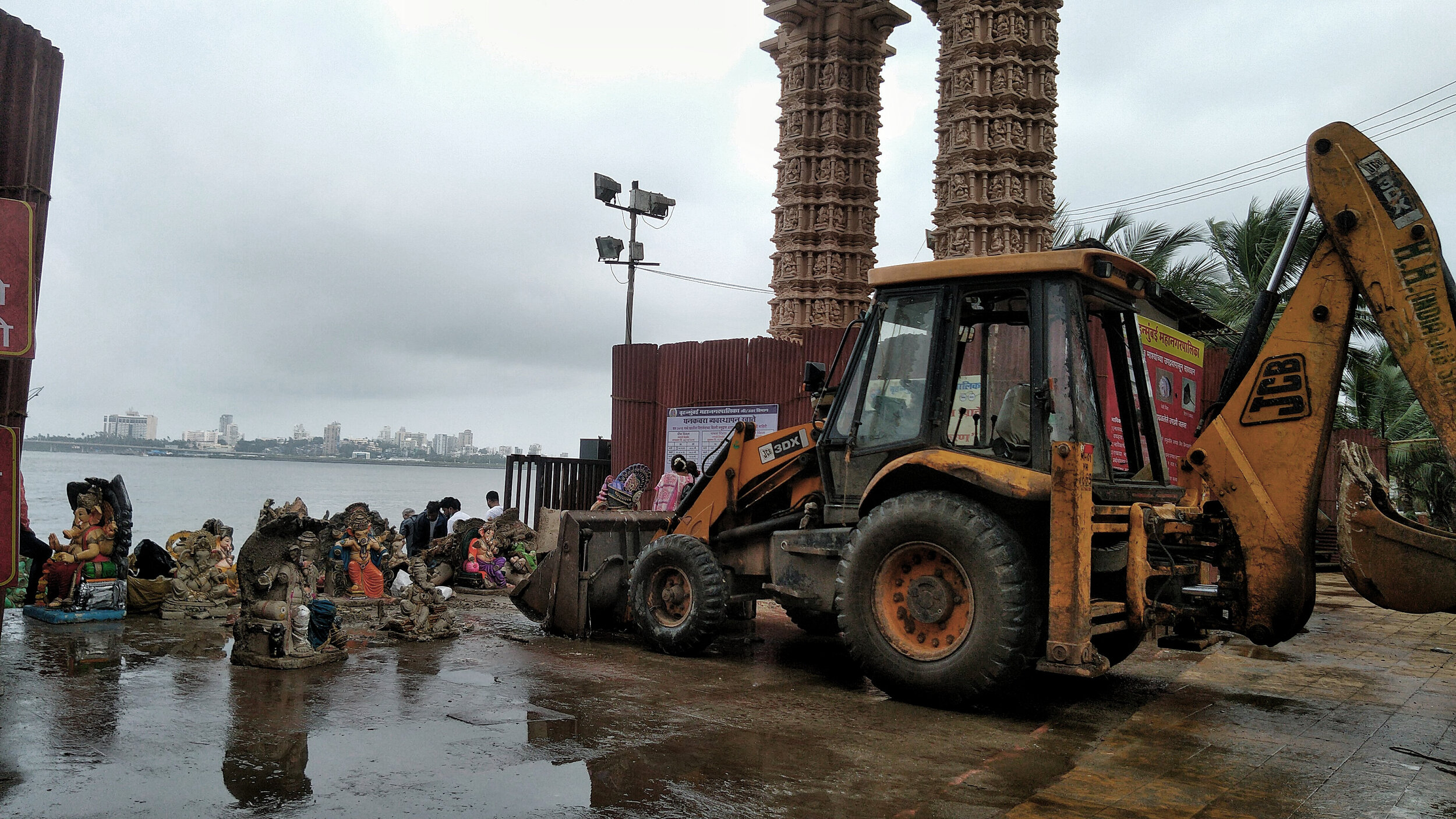 Immersed idols being taken to the recycling factory by BMC. By Author