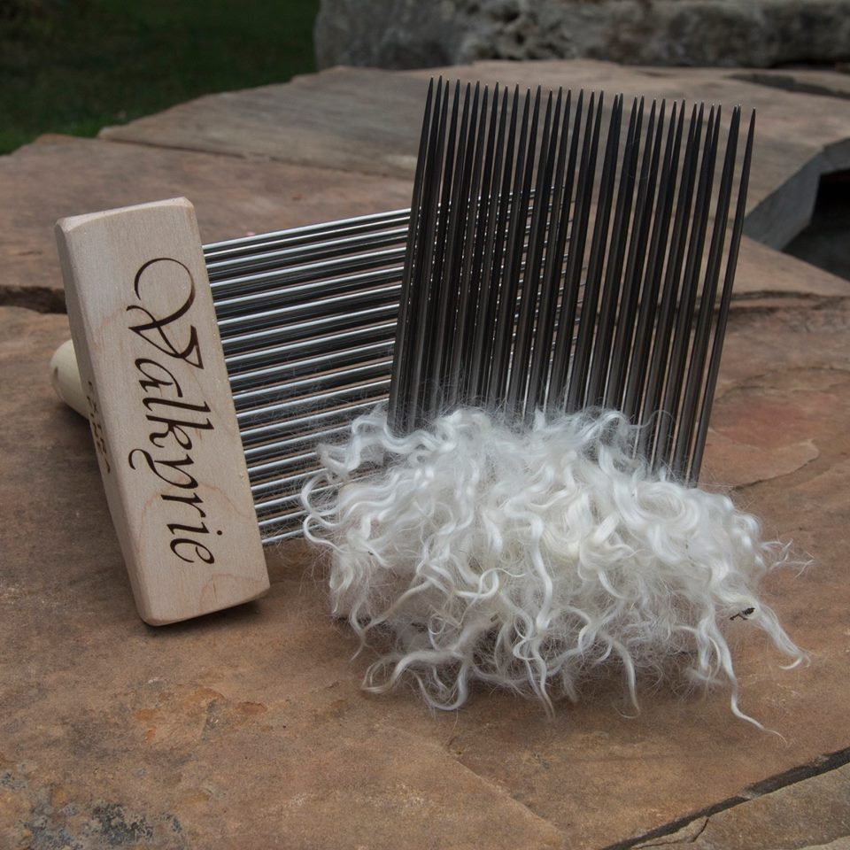 Washed, but otherwise unprocessed fiber on the combs