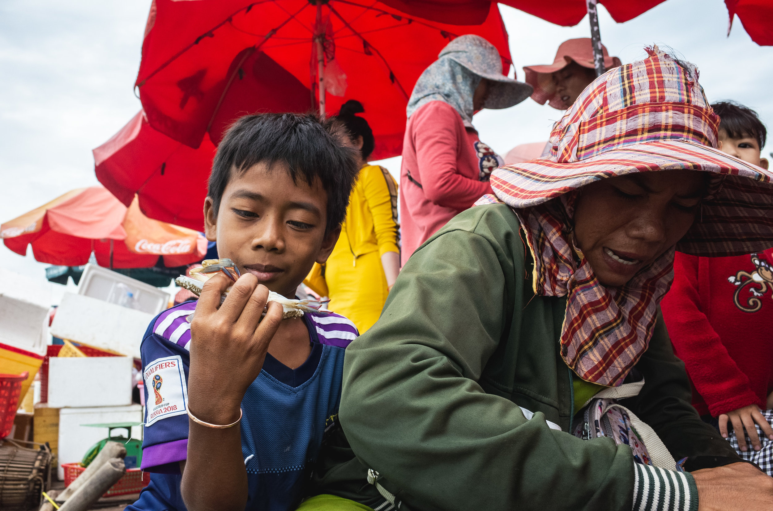 A boy examines the day's catch at the Crab Market in Kep, Cambodia